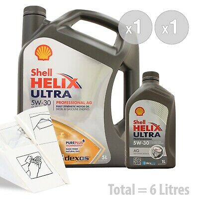 Car Engine Oil Service Kit / Pack 6 LITRES Shell Helix Ultra Pro AG 5w-30 6L