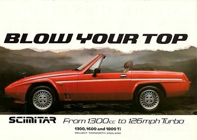 Reliant Scimitar SS1 1986-87 UK Market Leaflet Sales Brochure 1800 Ti 1600 1300
