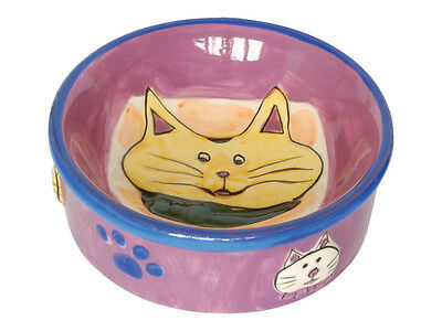 Purple Ceramic Cat Food Water Bowl with Cat & Paw Print Design 13cm
