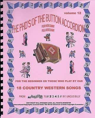 "Button Accordion  Book, Play By #s, ""18 Country Western Songs"", Easy & Fun"