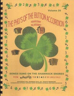 "Accordion Music Books ""songs Sung On The Shamrock Shore""  ""new Release May 2013"""