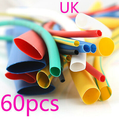 60pcs Heat Shrink Tube Heatshrink Car Electrical Wire Wrap Sleeve Cable Tubing