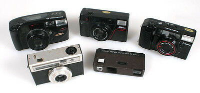 35Mm Point   Shoot Film Cameras Set Of 5 ((For Parts))