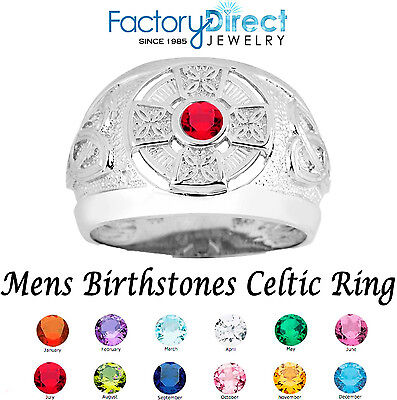 Celtic Mens Birthstone Sterling Silver Ring