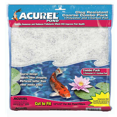 """Loving Pet Acurel Pond Pad Filter Combo Carbon & Poly 12X12"""" Free Ship Usa"""