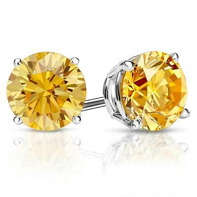 4 Ct Round Yellow Canary Earrings Studs Solid 14K White Gold Screw Back Basket