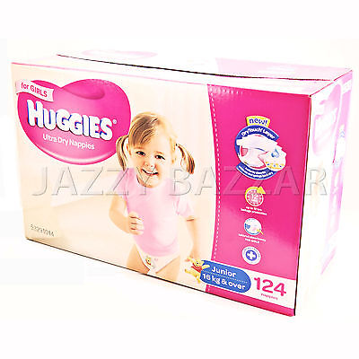Huggies Ultra Dry Girls Nappies Junior 124 Disposable Size 16kg+ JUMBO PACK