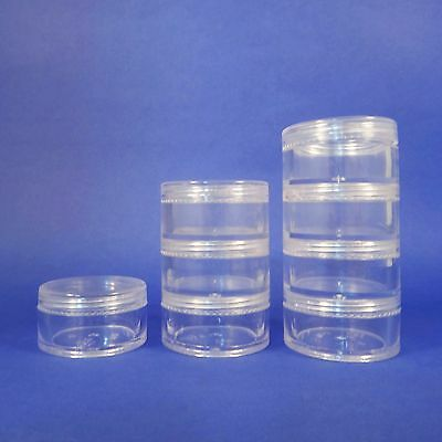 Clear Makeup Stackable Plastic Jar 10gr Cosmetic Storage Containers Minerals New