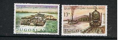 Stamps  Yugoslavia  125Th Anniv. Of Danube Commission-Ship-Train  J-15