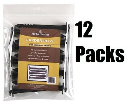 (12) MG 805-CS 10 Packs Plastic Landscape Fabric Weed Barrier Hold Down Pegs