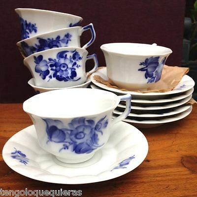 Antique set of 6 ROYAL COPENHAGEN blue flowers 10/8500 cup & saucer for tea