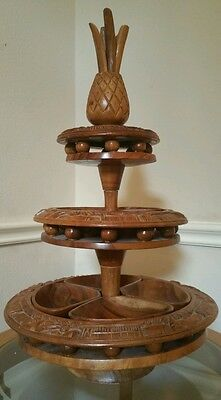 Vintage Handcrafted Pineapple Wooden Serving Tray Pedestal Lazy Susan Tower