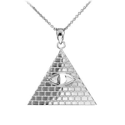 Sterling Silver Egyptian Pyramid with All-Seeing Eye of Horus Pendant Necklace