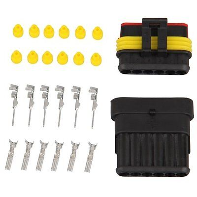 Kit 6 Pin Way Waterproof Electrical Wire Connector Plug LW
