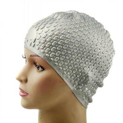 Silicone Waterproof Swimming Cap - Silver Gray LW