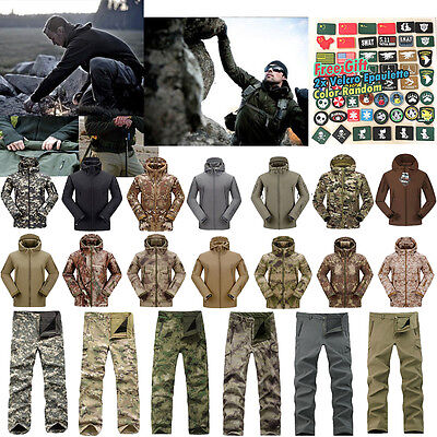 Mens' Suit Jacket+Pants Hunting Tactical Outdoor Water Wind Proof Military Coat