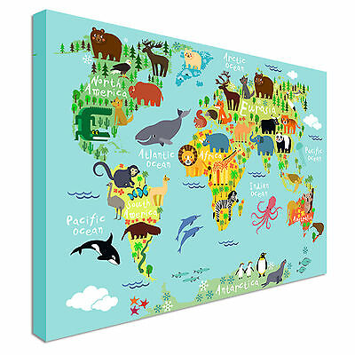 Children's Animal World Map for Kids Canvas Prints,  Wall Art - Great Value