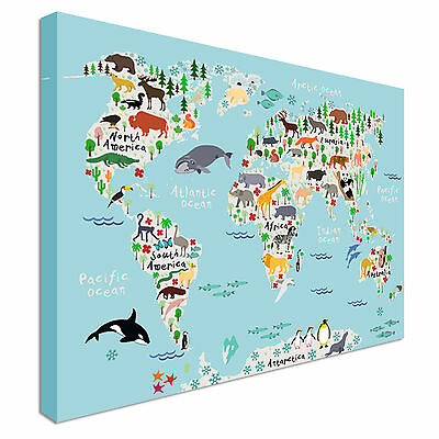 Children's Illustrated Animal World Map Canvas Prints, Wall Art - Great Value