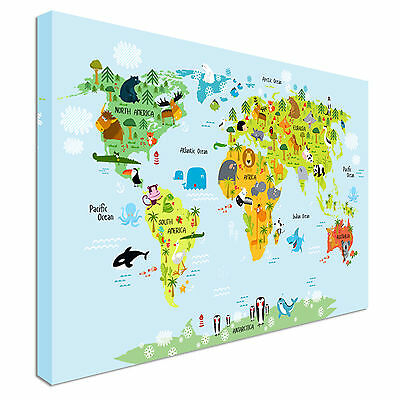 Colourful Children's Animal World Map Canvas Prints, Wall Art - Great Value