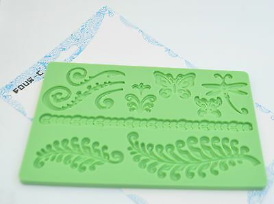 Baroque Butterflies Ferns Dragon Fly Designs Silicone Fondant Mould Cake UK