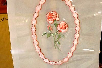 casket head cap panel universal Pink roses with Gems   8x8