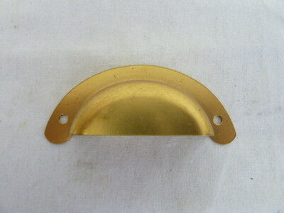NOS antique vintage drawer pulls bin cup handle dull brass finish steel