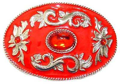 Bu26 Oval Red Enamel Belt Buckle W/large Red Rhinestone & Optional Belt Strap