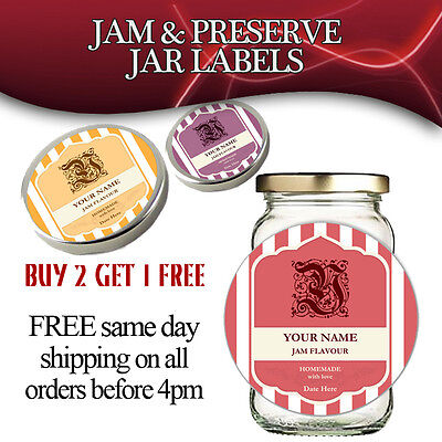 24 ROUND PERSONALISED JAM POT LID JAR LABELS HOMEMADE PRESERVES CONSERVE 24 pack