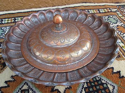 Antique Persian Qajar Copper Hand Engraved Covered Fluted Sweets Dish + Lid
