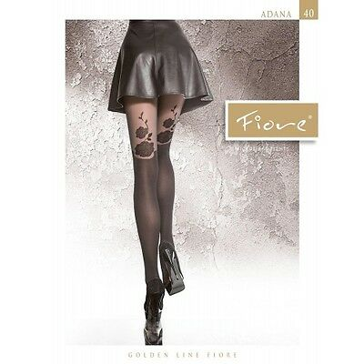 "New Collection Fiore ""ADANA"" Patterned Tights 40 Denier Mock Suspender Tights"