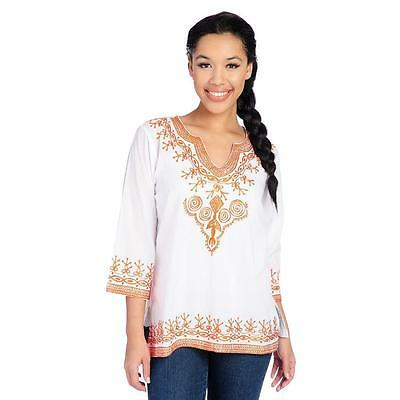 2b6c7783ea4 NEW OSO CASUALS® Woven 3/4 Sleeved Embroidered Scoop Neck Tunic - SZ ...
