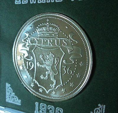 1936 Cyprus King Edward VIII Abdicated Pattern Crown Coin UNC in Display Case
