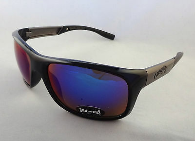 Choppers Sunglasses Designer BLACK & GREY with Blue Mirror Lens Unisex Men New