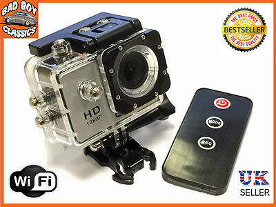 "1080P HD WIFI Waterproof Pro Sports Action Video Camera 2"" Display Screen"
