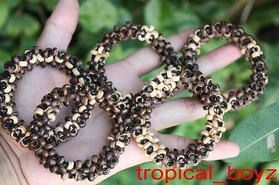 10 Mixed Round Coconut Shell Wood Wooden Stretchy Bracelets Wholesale