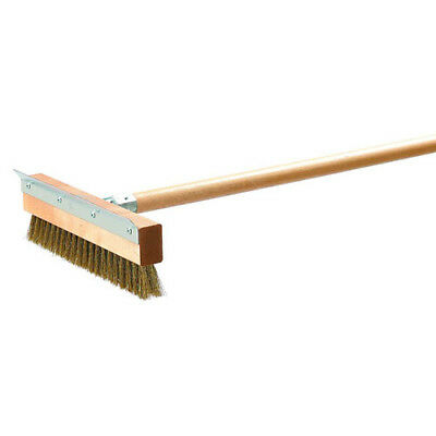 High Quality Pizza Oven Brush with Steel Scraper and Long Handle - Brass Bristle