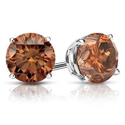 4 Ct Round Brown Earrings Studs Solid 14K White Gold Screw Back Basket