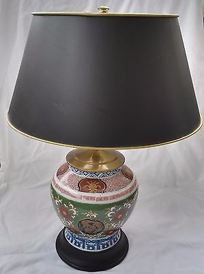 Beautiful Antique Chinese Famille Verte converted Porcelain Vase Lamp w/ Shade