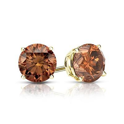 2 Ct Round Brown Earrings Studs Solid 14K Yellow Gold Screw Back Basket