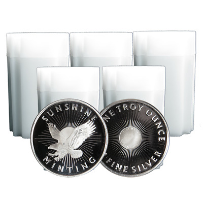 Lot of 100 - 1 Troy oz Sunshine Minting .999 Fine Silver Round