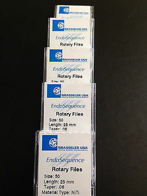 1 New Pack of  Brasseler EndoSequence Rotary Files size 50, 25mm, Taper .06