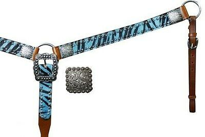 Showman TEAL Belt Style Hair On Zebra Print Leather Breast Collar NEW HORSE TACK