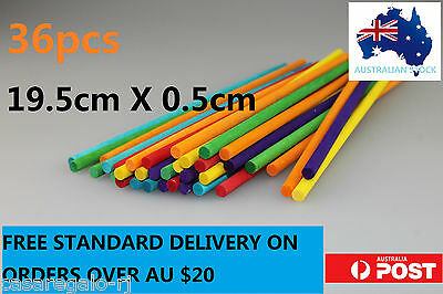 36 pc Coloured Wooden Craft Sticks Paddle Pop Sticks RODS 19.5cm x 0.5cm