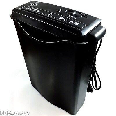 8 Sheet Strip-Cut Paper Credit Card Staples Shredder w/ Basket Home Office