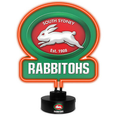 South Sydney Rabbitohs NRL NEON Sign Light Sculpted Glass Lamp Man Cave Bar Gift
