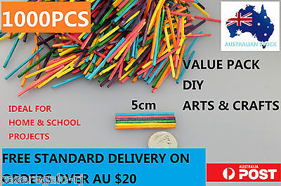 1000 pcs Coloured Wooden Craft Sticks Matchsticks 5cm
