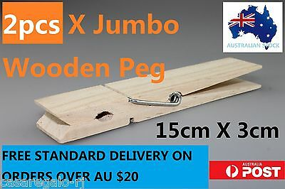 2pc Natural Jumbo Wooden Pegs Wooden Craft Baby Shower Clothespin 15x3cm