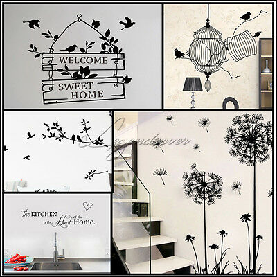UK Wall Decal Stickers DIY Birds Tree Removable Vinyl Home Room Decor Art Quotes
