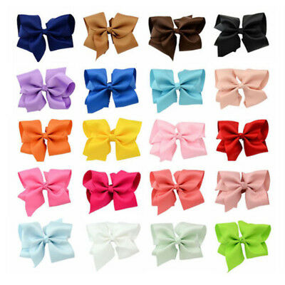 "20Colors 5.5"" Big Hair Bows Boutique Girls Alligator Clip Grosgrain Ribbon lot"