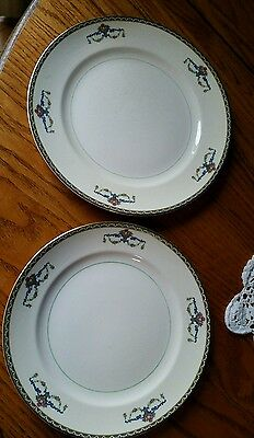 """Pope Gosser China MELROSE 10"""" Dinner Plate and 9"""" Salad Plate Gold trim"""